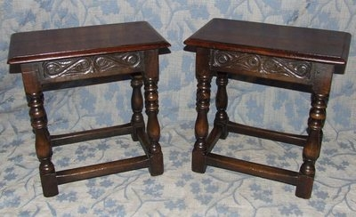 Antique PAIR Antique Jacobean Style Oak Joint Stools / Tables / Lamp Stands (PAIR)
