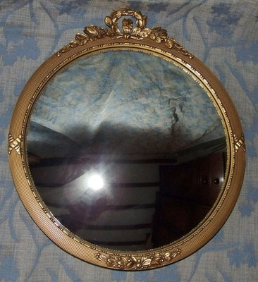 Antique Antique Style Carved Gilded Convex Glass Mirror : WALLIS OF SIDCUP (a10)