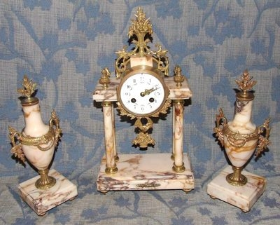Antique French Antique Ormolu and Marble Bracket / Mantel Clock Garniture Set : Working