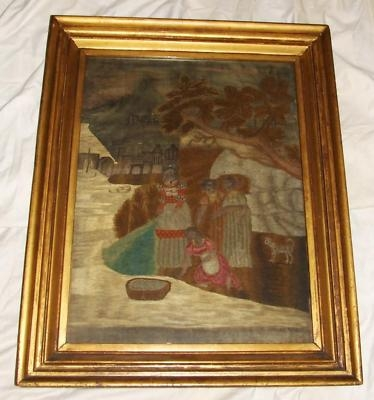 Antique Silkwork Silk Work Sampler Tapestry 1816