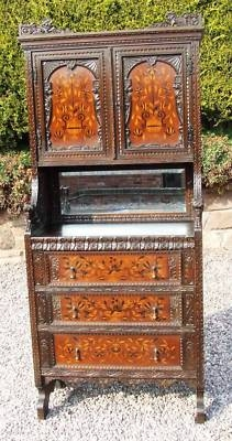 Antique Antique Jacobean Style Carved & Inlaid Cabinet Cupboard