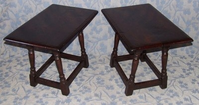 Antique PAIR Antique Style Oak  Tables / Joint Stools / Lamp Stands (PAIR tables)