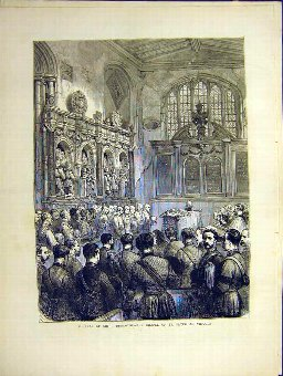 Antique Print Funeral Burgoyne Chapel St Peter Vincula Old