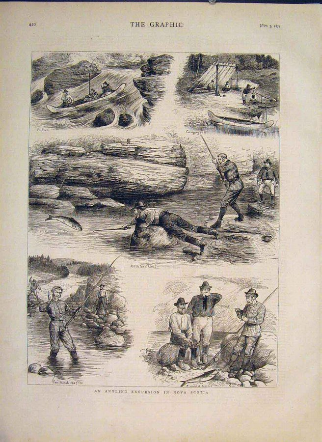 Print Angling Fishing Nova Scotia Fish River Canoe