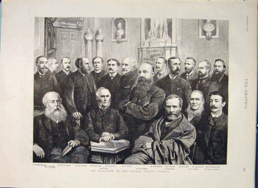 Print Aldermen London County Council Portrait Old
