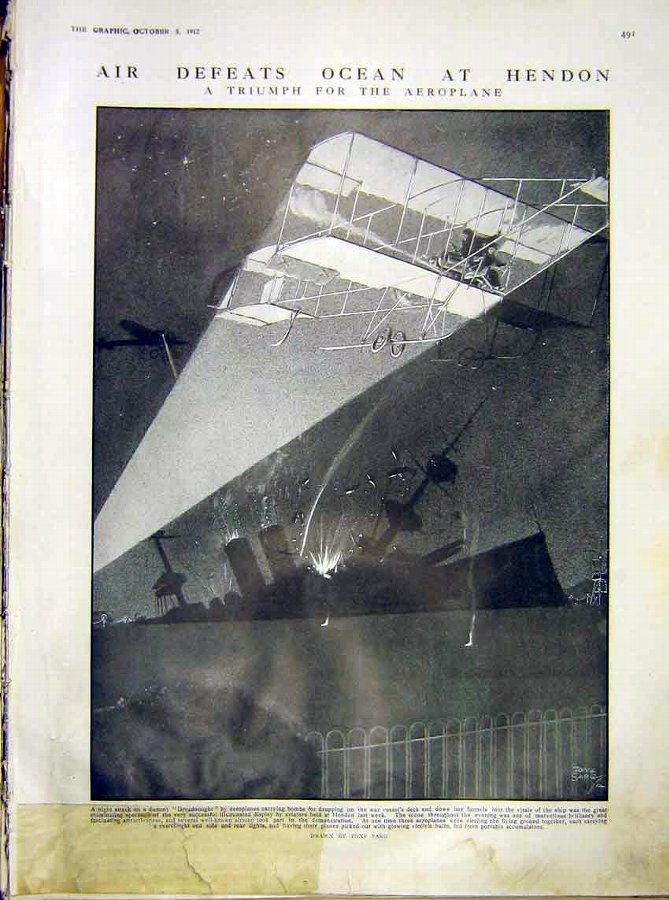 Print Air Ocean Hendon Aeroplane Dreadnought War S