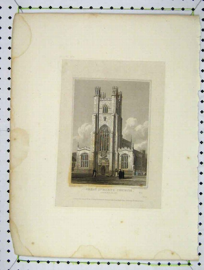 Print 1824 View Great St Marys Church Cambridge En