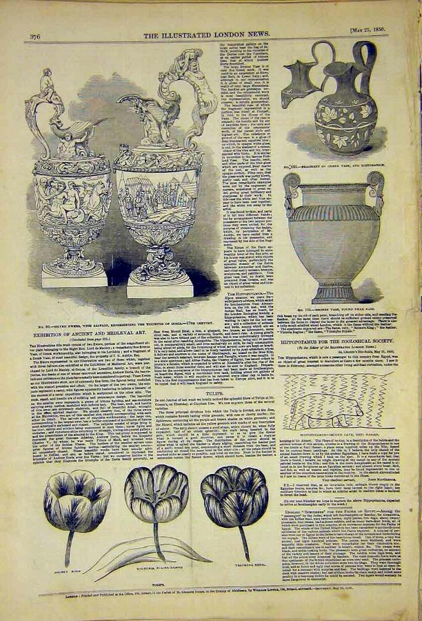 Print Ancient Mediaeval Art Ewers Doria Tulips Old
