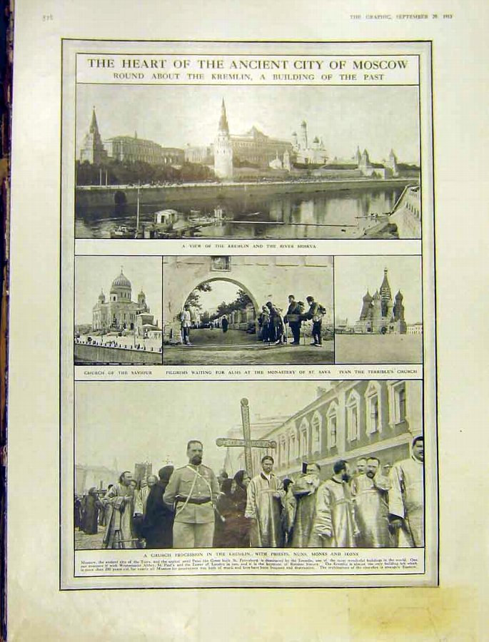 Print Ancient City Mosco Russia Kremlin River Mosk