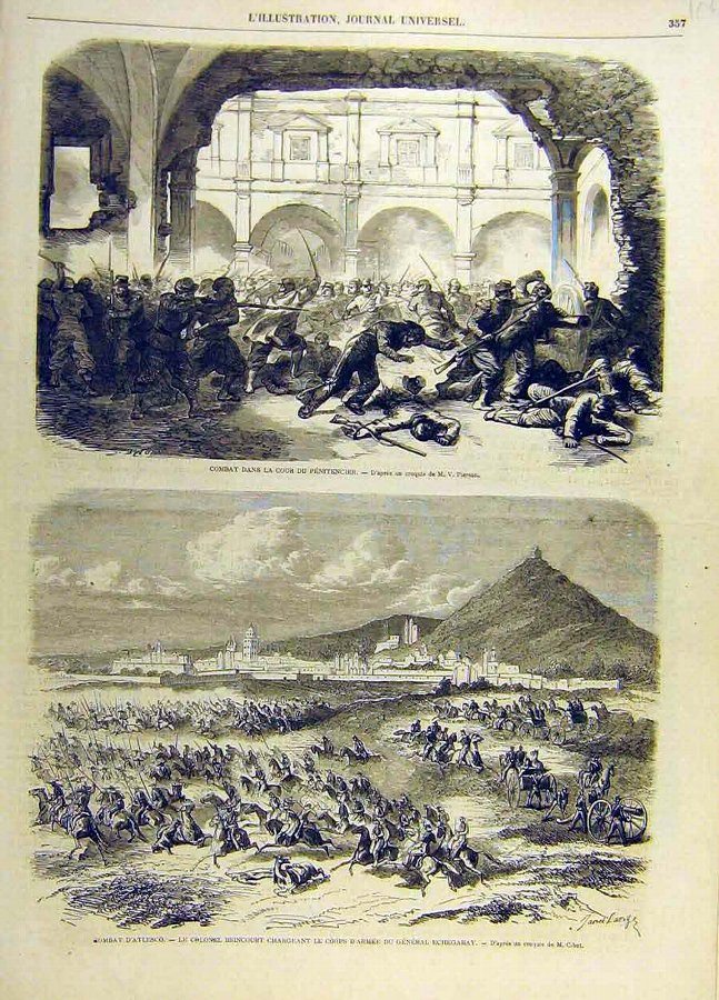 Antique Print Combat Battle Penitencier Atlesco Soldiers F