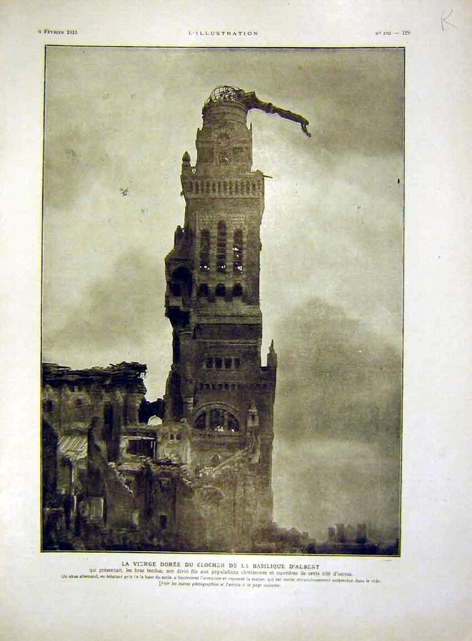 Print Albert Statue Tower Notre-Dame Brebieres Fre
