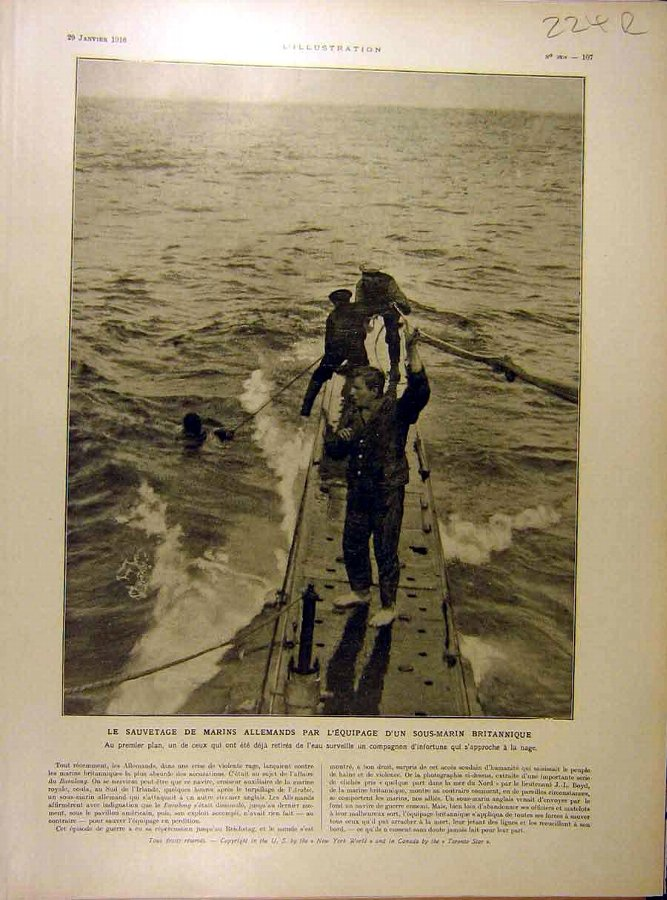 Antique Print 1916 Marines German Submarine Hartmannswille