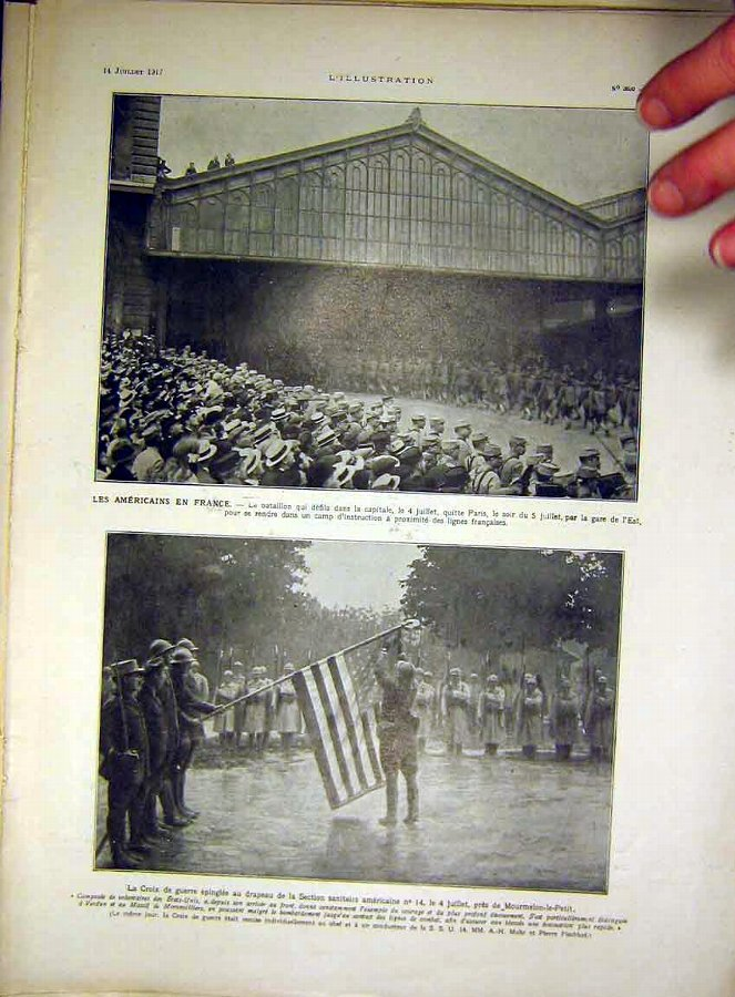 Print American Troops France War Flag French 1917