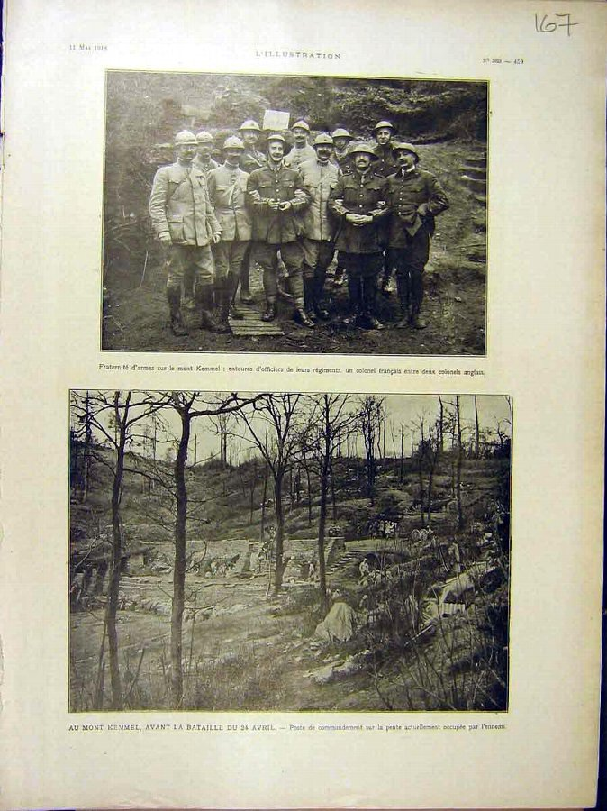 Antique Print 1918 Kemmel Officers Colonel French Battle M