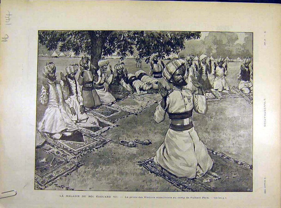 Antique Print 1902 Illness King Edward Hindu Muslim Prayer