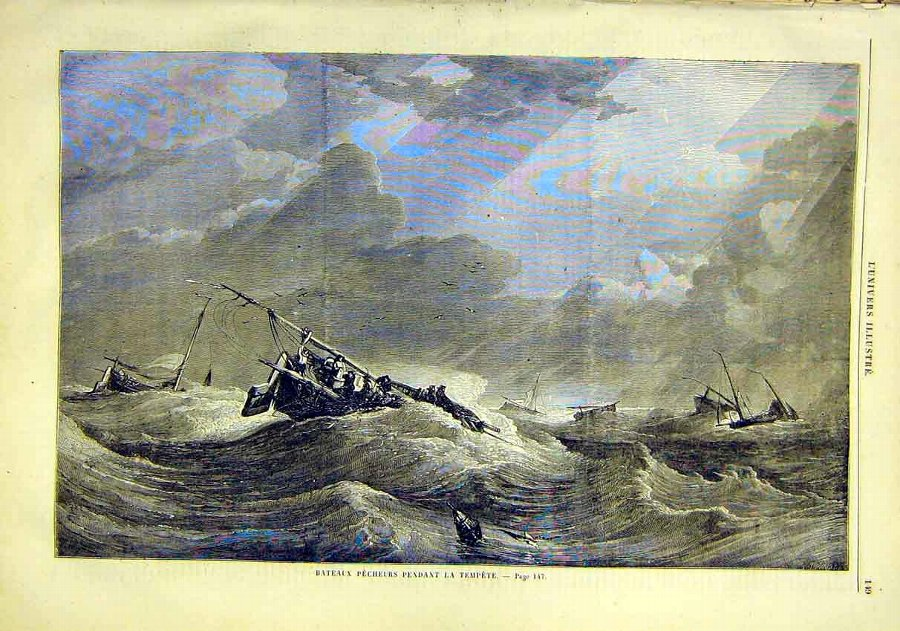 Antique Print Boat Ship Storm Fishermen French 1859 49LUN0