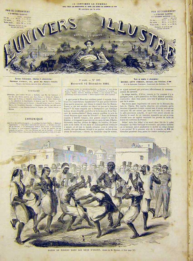 Print Algiers Dance Natives Mariani French 1866 86