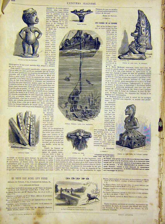 Print Antiquities Pahouins Africa Palanque French