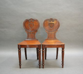 Antique Pair George 111 mahogany hall chairs