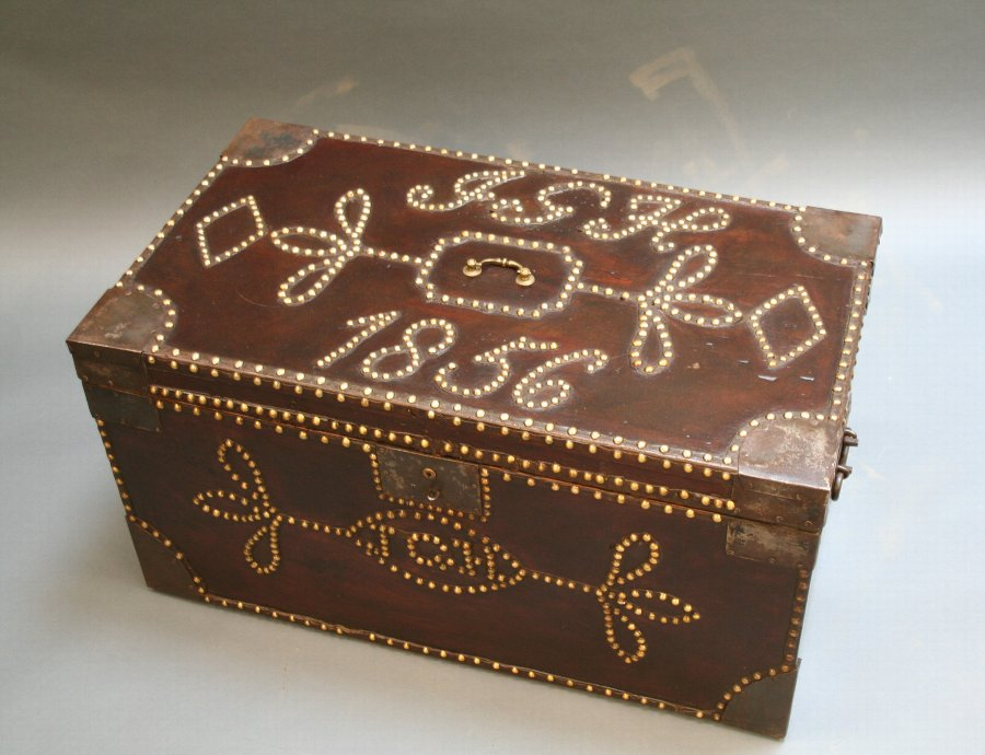 C19th studded trunk