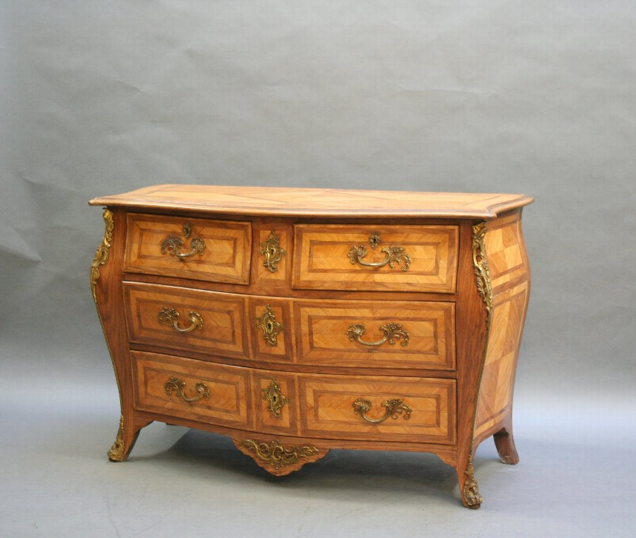 C19th French bombe commode chest