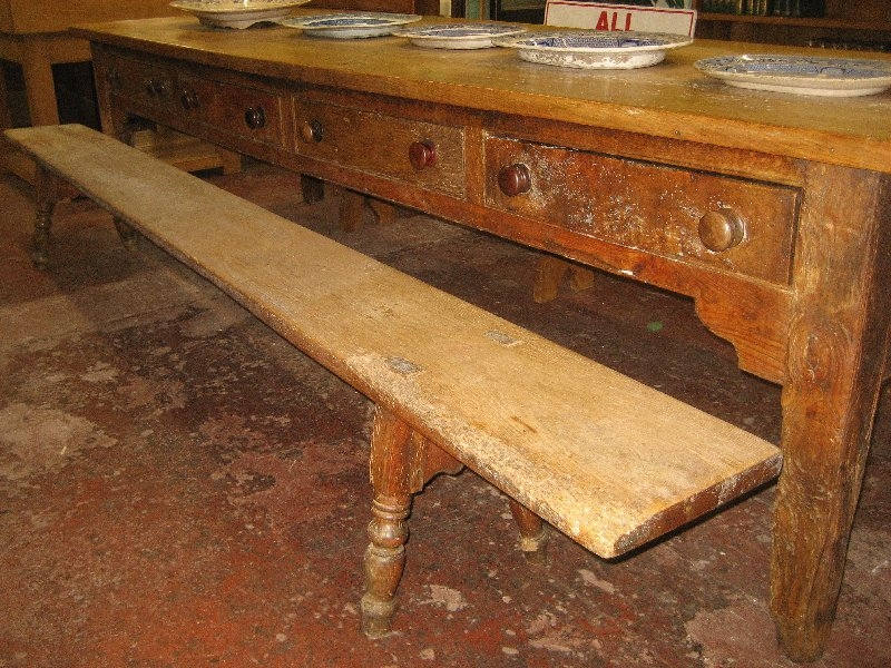 Ash and Elm Serving Table with Bench