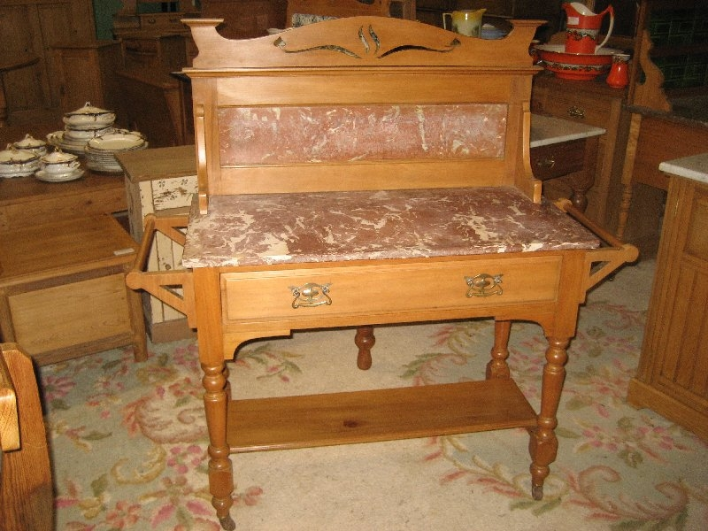 Edwardian Satin Wood Marble Top Washstand