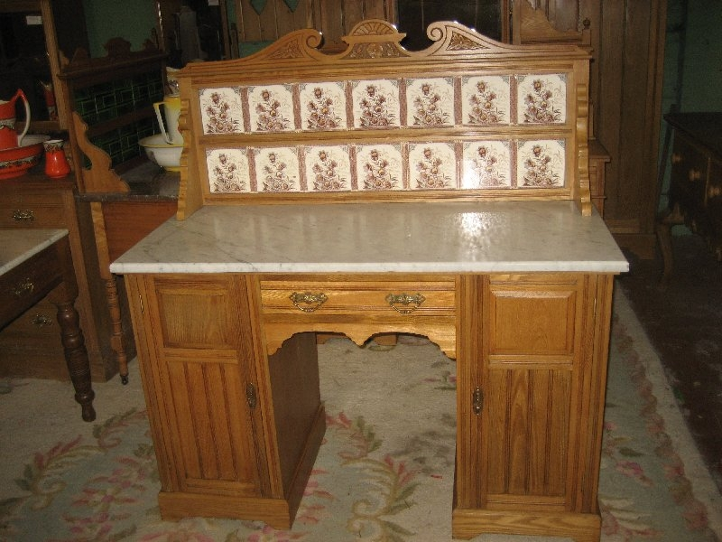 Edwardian Ash Marble Top washstand