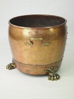 Antique Antique Victorian Copper Log Bin - Jardiniere Brass Lions Paw Feet Coal Bucket