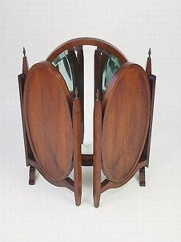 Antique Mahogany Triple Folding Dressing Table Mirror - Vintage Art Deco Bedroom Mirror