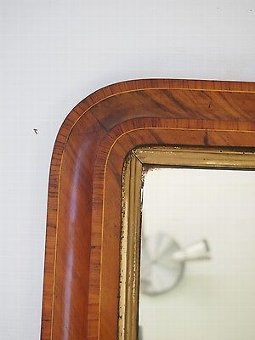 Antique Antique Victorian Walnut Overmantle Mirror - Marquetry Hall Wall Bedroom Mirror