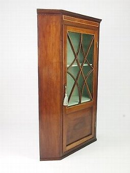 Antique Antique Georgian Mahogany Corner Cupboard - Regency Glazed Display Hall Cabinet