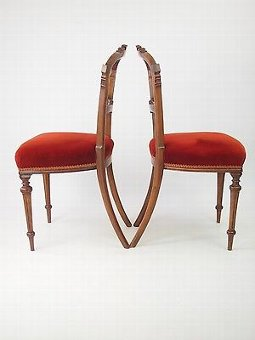 Antique Pair Antique Victorian Walnut Balloon Back Chairs - Hall Dining Side Desk Chair
