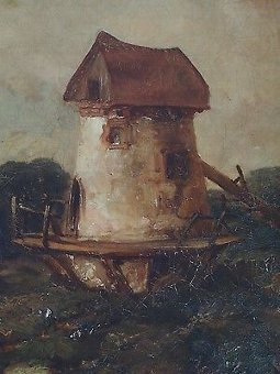 Antique Antique Oil Painting - Britsh School Victorian Signed Gilt Frame Windmill Art