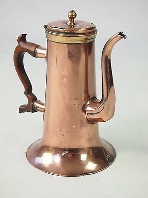 Antique Antique Georgian Copper Coffee Pot - Tea Chocolate Pot Victorian Kitchenalia