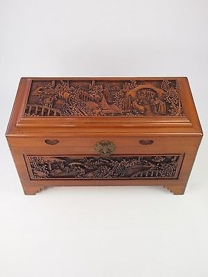 Antique Vintage Asian Carved Camphor Wood Chest - Coffer Blanket Toy Box Coffee Table