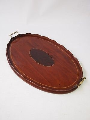 Antique Antique Edwardian Mahogany Tray -Inlaid Serving Dinner Drinks Card Buttlers Tray