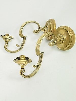 Antique Pair Antique Wall Lights - Victorian Brass Branch Sconces Gas Chandelier Lamps
