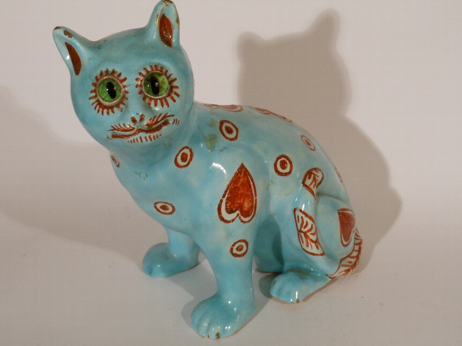 Antique Mosanic pottery model of a seated cat