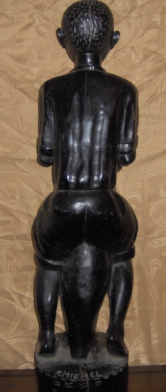 Antique African Wooden Statue - Signed by R. Michel