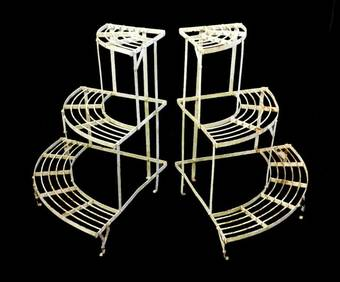 Antique Pair of French metal Plant Stands Mid Century