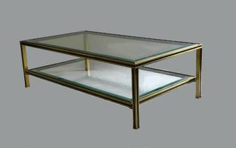 Antique 1970s French Coffee Table by Pierre Vandel Glass  Metal