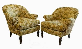 Antique C19 French Comfy Pair of Armchairs use or recover
