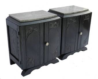 Antique French Pair Art Deco Side Cabinets Ebonised Bedside Tables Nightstand