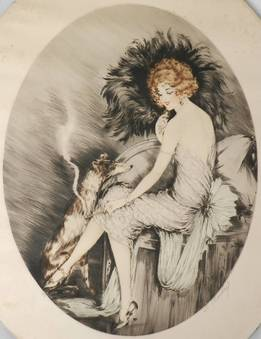 Antique Signed French Etching Elegant Woman with Dog c1920 Art Deco