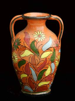 Antique French Terracotta Pot Mid Century Floral Hand Painted Vase