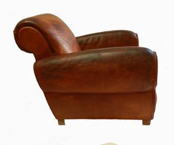 Antique Rare Set 4 French Leather Club Chairs Mid Century Armchairs