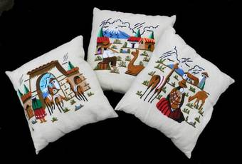 Antique 3 Vintage Embroidered Pillows Accent Cushions Mid Century
