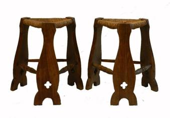 Antique Pair Arts  Crafts Stools Rush Seat Country House Gothic revival