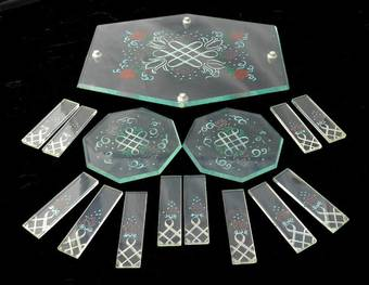 Antique Art Deco Cake Stand Coasters  12 Knife Rests original painted glass